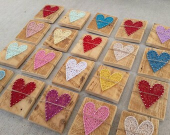 String Art Heart Sign, Wood Heart Sign, Heart String Art Sign, Reclaimed Wood, String Art Sign, Rustic Decor, Rainbow Heart Signs, Nail Art