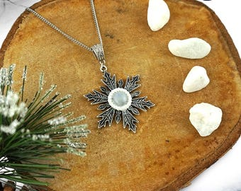 Moonstone necklace Snowflake necklace Gemstone jewelry Winter necklace Elf necklace Fantasy jewelry Yule necklace gift  Xmas gift for her