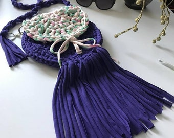 Handmade Round Mandala crochet tote hobo handbag shoulder bag T-shirt yarn Fabrics yarn design tote bamboo handles