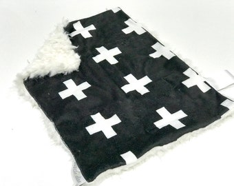 Black and White Plus Sign Baby Boy MINKY Lovey Blanket, MINI Minky Baby Boy Blanket, Taggie Blanket, Monochrome Cross Baby Shower Gift