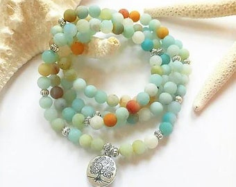 Amazonite Mala Necklace with silver Tree of Life charm, 6mm Beads