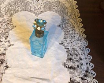 Antique Crystal Blue PERFUME Scent Flowers Bottle Cut glass Jewelry Rhinestones