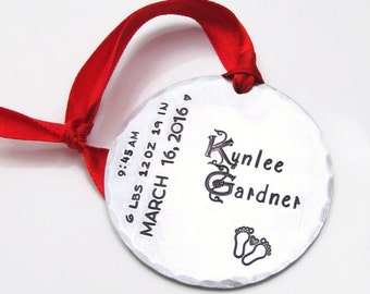 Personalized Ornament, Baby's First Christmas Ornament, Hand Stamped Ornament, Baby Stats Ornament, Personalized Baby's First Christmas