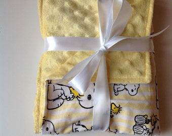 "Snoopy Charlie Brown Peanuts minky fleece cotton baby blanket 26""x28"""