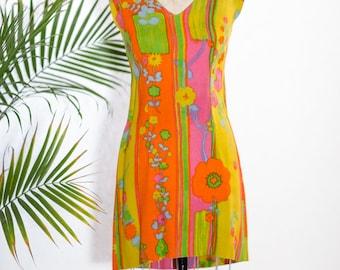 Hand Made 1960's Neon Dress