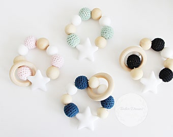 Crochet Bead, Silicone Star & Natural Wood baby teether, teething ring, teething toy, teether, baby gift, baby shower gift, modern baby