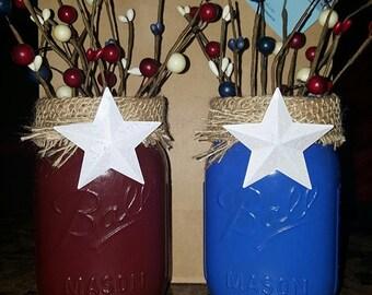 Americana country crafts, Americana Mason Jar, Americana centerpiece, blue and burgundy Jars, red white and blue