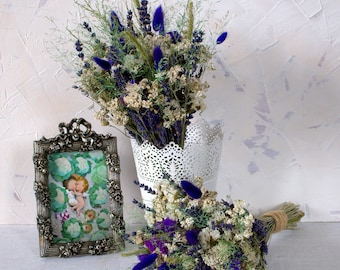 Wild Dried flower country bouquet, white and blue buquet, Shabby chic wedding , Rustic dried flowers, fild flowers bouquet
