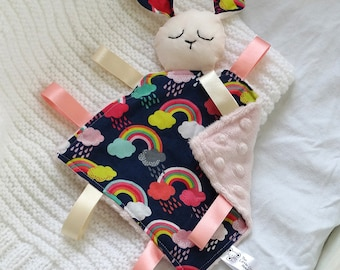 Bunny Comforter Pink Rainbow, Taggie Blanket, Comfort Blanket, Baby Blanket, Baby Toy, Taggy Toy, Newborn Gift, New Baby Gift, Ribbon Toy