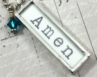 Amen Necklace, Word Jewelry, Christian Gift
