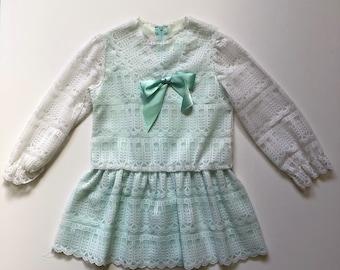 Vintage Mint Lace Drop Waist Dress (6)