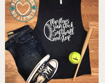 Flip Flops, sunblock, softball nonstop - flowy muscle tank top