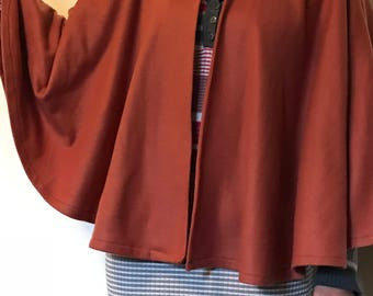 Samira's  Beautiful Brown Cape  lightweight stretchy Fleece/ poncho/Handmade Women Cape/Gift Ideas.