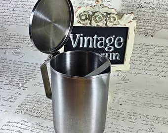 Vintage medium size stainless steel Vollrath pitcher with flip lid and ice keeper backer USVA
