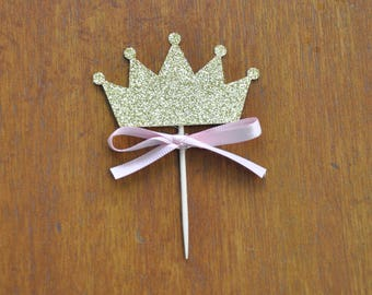 Princess Cupcake Toppers Set of 12, Gold and Pink Princess cupcake toppers