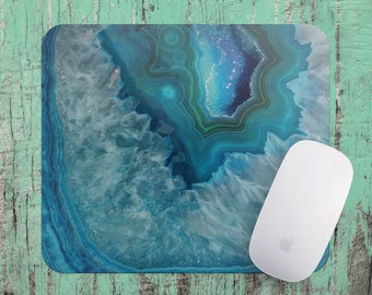 Blue Agate Art Crystal Geode Mouse Pad, Blue  Agate Crystal Mousepad Gift, Office Desk Accessories, Computer Mouse Mat, Office Supplies