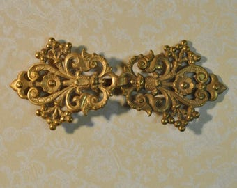 Ornate French Cape or Belt Buckle or Hook and EyeGold Toned Brass Die Casting 2 Pieces 173J 174J