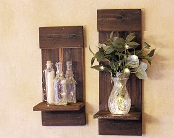Rustic Wooden Shelf, Wood Shelf, Farmhouse Decor, Rustic Wall Decor, Wood Shelves, Candle Holder, Barn Wood Shelf,  Display Shelves