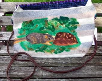 Adorable Baby Squirrel and Turtle Wool Purse