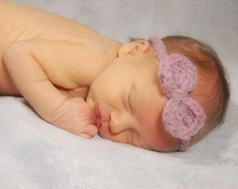 Pink Heather Bow Newborn Baby Headband - Newborn Photography Prop - Wool/Acrylic Adjustable