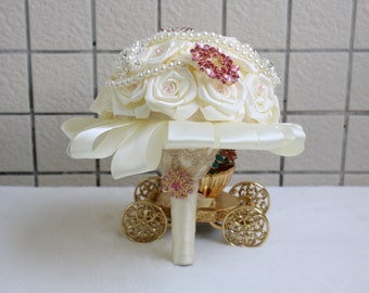 MADE TO ORDER Bridal / Wedding Bouquet Satin Roses , Brooches Handmade Vintage Inspired Alternative