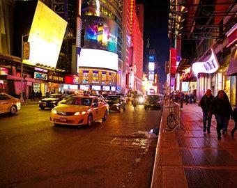 nyc photography, fine art print, times square, nyc, streetscape, street, yellow cab, taxi, pedestrian, urban, manhattan, new york city