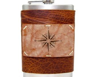 8oz Compass Flask Homemade in Aspen in Whiskey Ember
