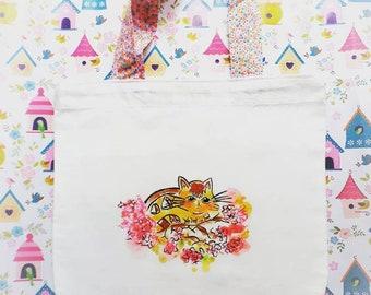 tote bag personalized cotton, catbus, totoro, kawaii