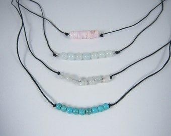 Gemstone Adjustable Necklaces, Waxed linen cord necklace