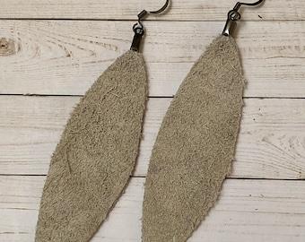 Leather Suede Earrings, Leaf Earrings, Joanna Gaines Inspired