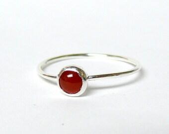 Carnelian ring • Sterling silver carnelian ring stacking ring • Sterling silver ring • Gemstone ring stone ring