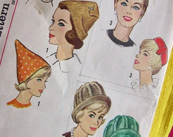 1962  Simplicity  Hat Pattern 4677  *  Ladies' Set of Hats * One Size  * UNCUT * ORIGINAL PATTERN