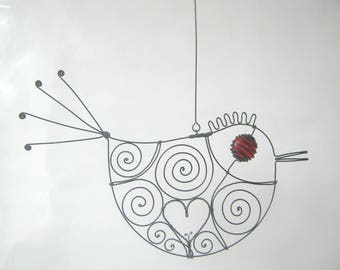 Love Bird  In Red, Wire Art Sculpture, Gift For Her