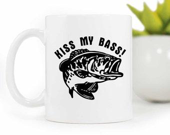 Fishing Coffee Mug, Funny Coffee Mug,Kiss my Bass, Fisherman Gift,ceramic Coffee Cup, Gift for him,Mug, MUG-045