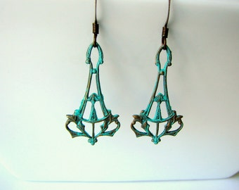Art Deco Copper Patina Earrings - Turquoise Patina on Copper Filigree Earrings