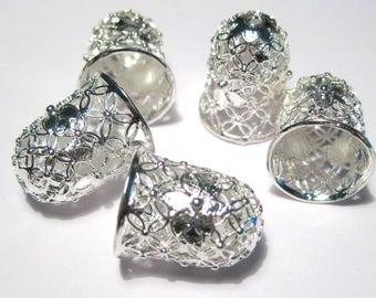 Bright Silver Plated Filigree Brass Bead Caps Tassel Caps Bead Cone Caps