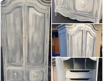 SAMPLE: Vintage French Provincial Armoire, white washed, grey, shabby chic