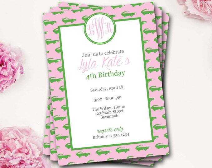 Alligator Birthday Invitation, Monogram Invitation, Preppy Invite, Alligator Invite, Pink And Green, Girl Birthday, Gator, DIY Printable