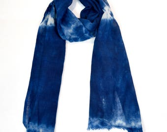 Natural Indigo dye 100% wool scarf