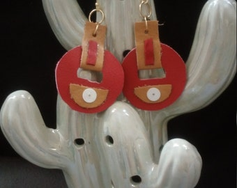 red and tan leather earrings
