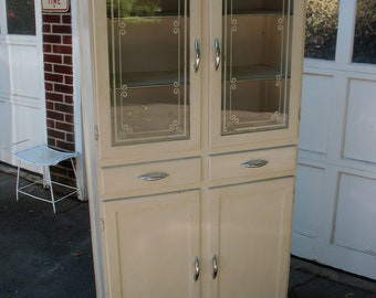 Vintage Kitchen Cupboard Cabinet Glass Doors With Stenciling Pick Up Only