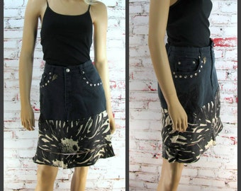 Black Skirt, Denim Jean skirt, Black denim skirt, black silk skirt Size 12 skirt,    # 1