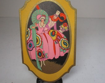 1920's-30's unused art deco gold gilded Gibson bridge tally colorful lady in dress w/ stylized deco flowers holds parasol, man in top hat