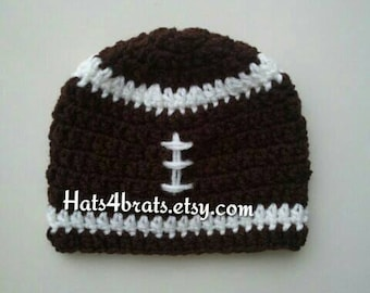 Baby Crochet Football Hat, Crochet Football Hat, Newborn Football Hat, Football Beanie Hat, Infant Football Hat, Baby Photo Prop, Boys Gift