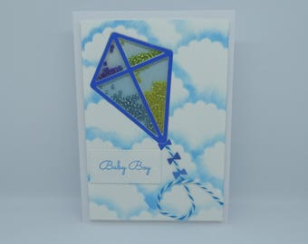 Baby Boy card, Handmade, New Baby card, Blue Flying Kite Shaker card, It's a Boy card, Kite and Clouds card, Flying Card