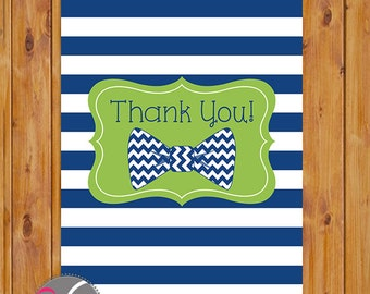 """Bow Tie Thank You Card Navy Blue Lime Green Chevron Flat Card Print Your Own All Occasion 4""""x6"""" Digital Instant Download (ty-306)"""
