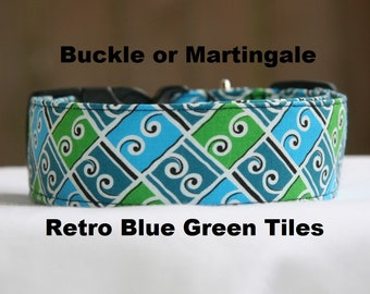 Personalized- Embroidered-Retro Blue Green Tiles-Adjustable Buckle-Martingale Dog Collar-Small-Large Breed Dog-1 inch 1.5 -2 inch width