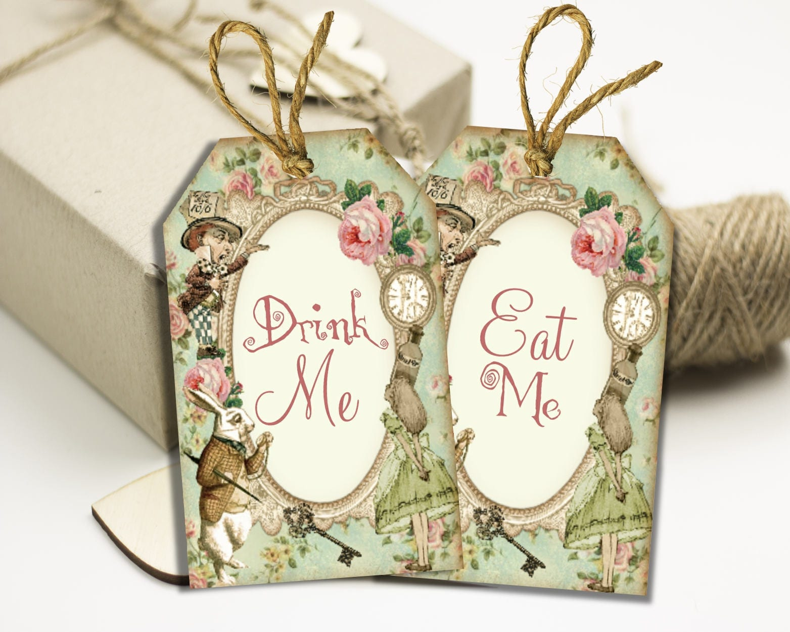 Alice in Wonderland Eat Me Tags & Drink Me Tags - Floral Gift Tags ...