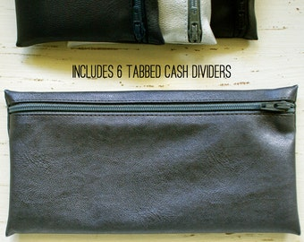 Unisex cash envelope wallet with 6 tabbed category dividers | gunmetal gray / grey