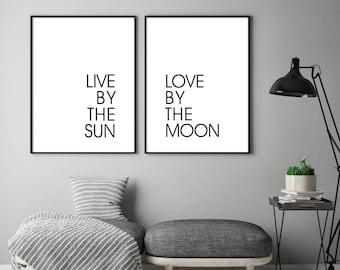 LOVE By THE MOON, Bedroom Wall Art, Love Prints, Love by the Moon Print,Bedroom Wall Decor, Minimalist Print, Download, Moon, Sun, Art Print